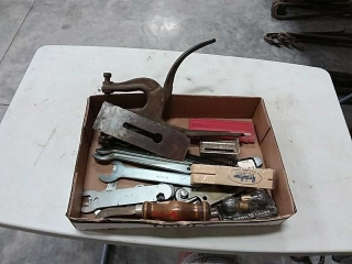 assortment of hand tools- wrenches, punch, bulbs