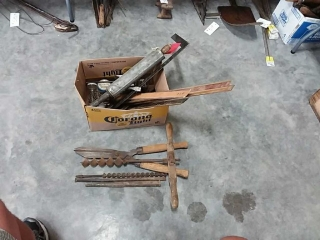 assortment of drills, clippers, hardware