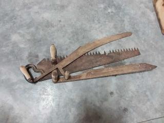 Hand saw, 2 scythe