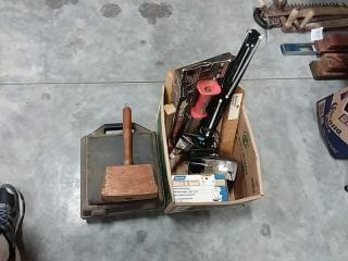 assortment of Abrasive cleaner, light, Nailer,