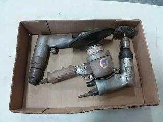 assortment of air tools - 2 drills, sander