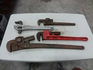 assortment of pipe wrenches