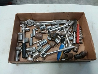 assortment of ratchets and sockets
