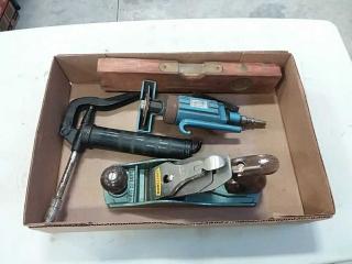 assortment of hand tools - grease gun, cut off