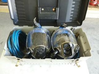 2 face masks with air hose