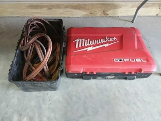 Jumper Cables + empty Milwaukee case