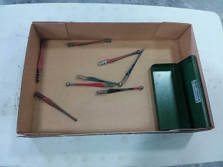 Assortment of glass cutters, tool box