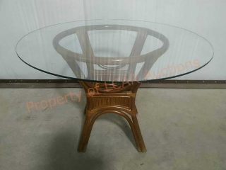 Glass Top Bamboo Base Dining Table