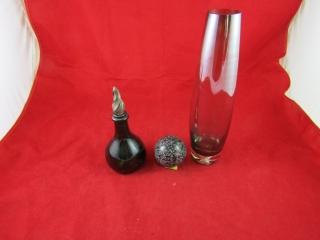 Art Vase hand blown vase, green bottle with
