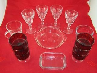 Glass lot: Parfait, ruby glass nappies,  2 mugs,