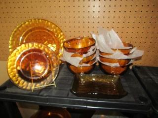 Amber glass: 9 bowls, 12 dinner plates, 1 B & B