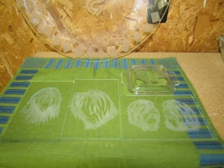 Etched glass pieces