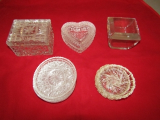 Trinket boxes and crystal coasters