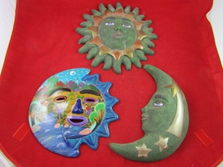 Sun, moon and stars wall plaques