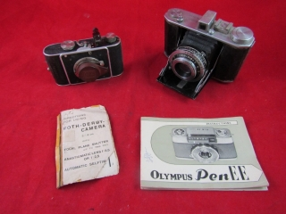 Pair of cameras: Foth-Derby Cameron, Olypus