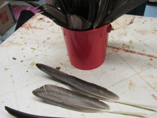 Bucket of feathers