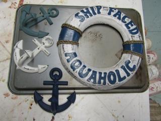 Nautical lot:; motto, and 3 hooks