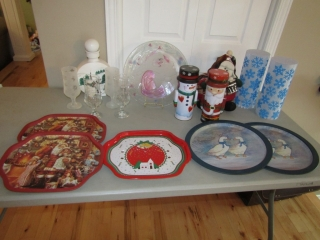 Christmas lot: Stemware, tins, Battery candles,