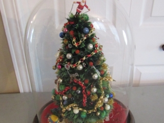 Vintage Christmas tree  under dome