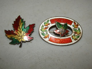 Sterling enameled brooches, Maple leaves