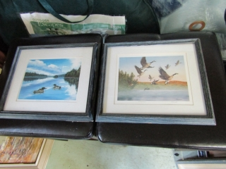 Pair of Ducks marked  AE signed by R. Dewolfe