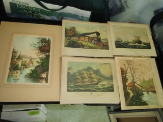 Group of five coloured prints