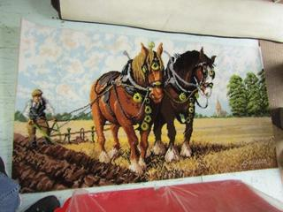 """Picture Rug: Horses 27""""x 51"""""""