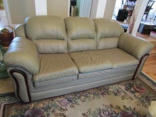 "SW Stone Leather sofa L 89"" x 40"" D"