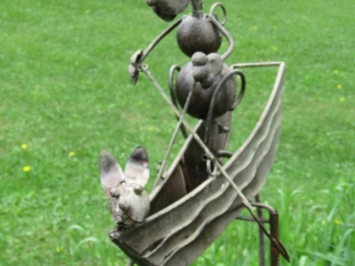 Lawn Decor- Dog Padding boat  made in metal