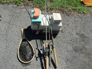 Fishing Tackle: 3 rods  some tackle and net
