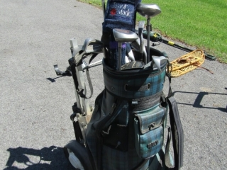 Golf pull cart  bag with clubs and irons