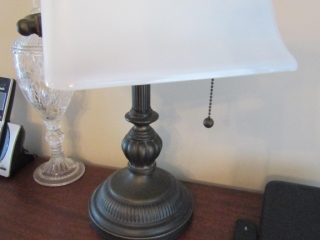 Bankers Lamp with white shade