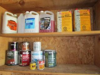Shelves of paint, thinner, Kerosene
