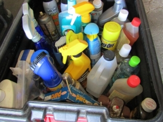 Tub of cleaning supplies: Vim, Barbque cleaner ,