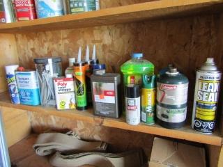 Box lot: propane cylinders, Dunpont sealer,