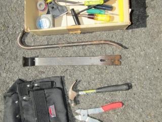 Box lot: pry bars, screwdrivers, tool belt,
