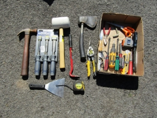 Box lot hand tools, snipes, chisels, tapes,