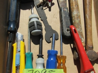 Box lot of hand tools,; hack saw, hammers, screw