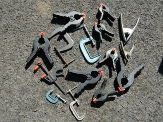 Lot of clamps, and C. Clamps