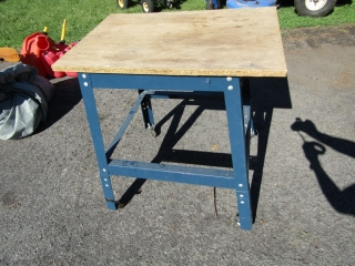 Work table on rollers