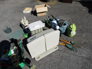 Garden: hose caddy, plant holders, decor items,