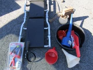 Automotive: creeper, oil pan, funnels, paint