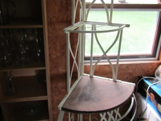 Wrought iron corner stand white  with wooden