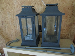 pair of lantern boxes for candles with hooks