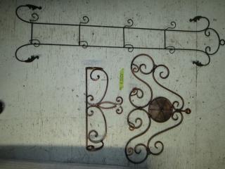 Metal plate stand and towel rack