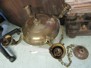 Antique brass ceiling light with 4 shades
