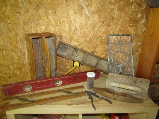 Vintage tools, small stain glass, Level, Wooden