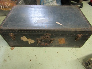 """Trunk , leather handles, 33.5"""" x 18.5"""" x 11"""""""