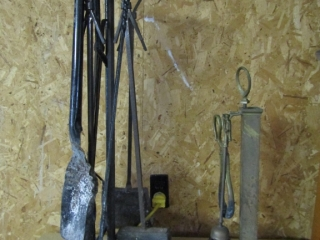 Fireplace irons & ash bucket