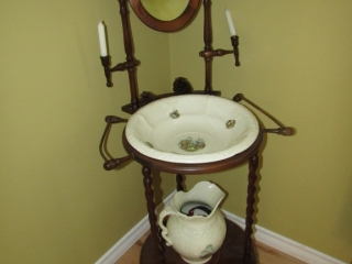 Wash stand with basin and pitcher